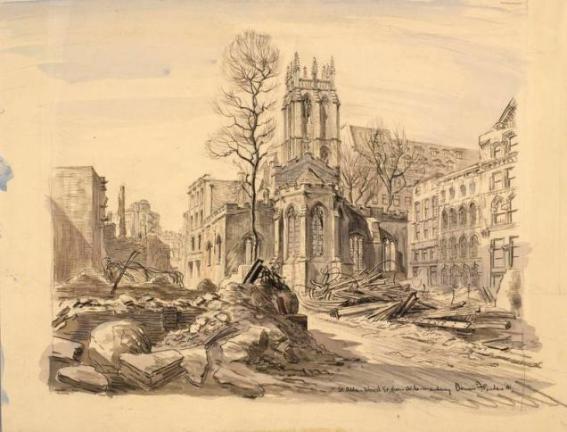 Drawing of St Alban, Wood St, in 1941, by Dennis Flanders. Courtesy of Imperial War Museum © IWM (Art.IWM ART LD 5944)