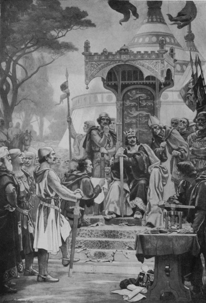 Early 20th Century image of King John and his barons at the sealing of Magna Carta (image via Wikimedia Commons)