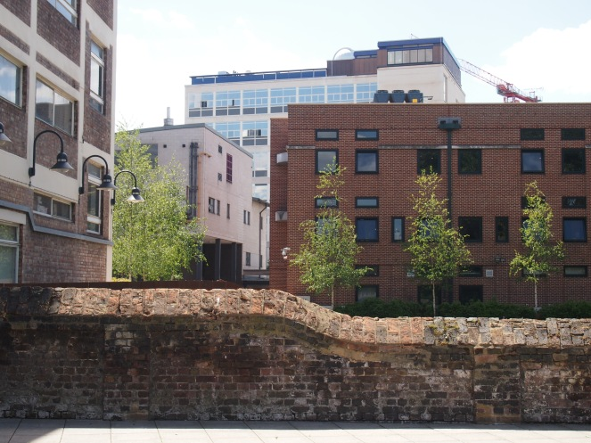 A part of the old cemetery boundary wall