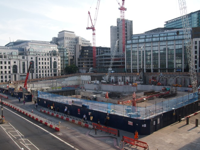 The view from Holborn Viaduct looking towards the likely location of the Shoe Lane burial ground