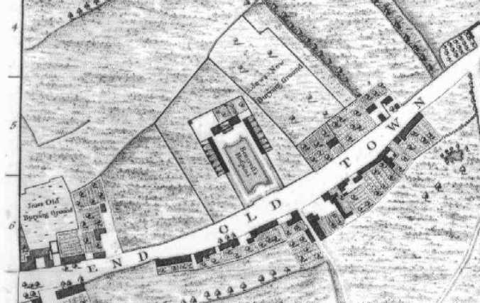 Detail from John Rocque's 1746 map of London - the old Jews' burying ground is on the far left, while the larger new Jews' burying ground is to the right (image via Wikimedia Commons)