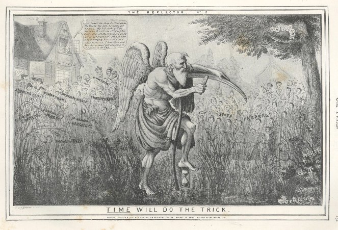 "1835 etching by C J Grant - ""Time will do the trick"" (source)"