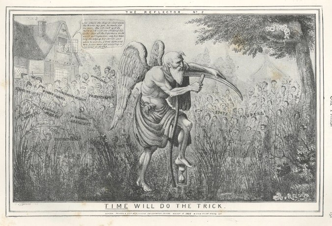 """1835 etching by C J Grant - """"Time will do the trick"""" (source)"""