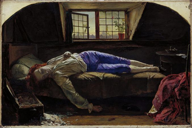 Chatterton, by Henry Wallis (1856), depicting the suicide of Thomas Chatterton (image via Wikimedia Commons)