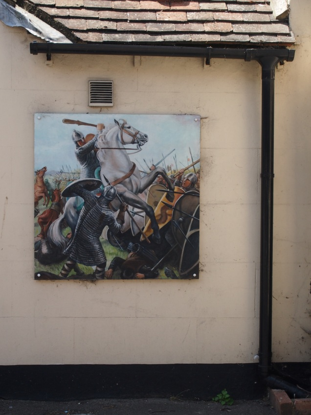 Part of an art installation close to the church of St Nicholas, this panel depicting William the Conqueror's half brother Odo of Bayeux
