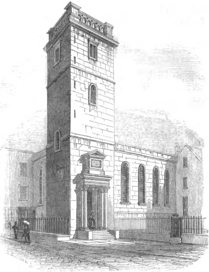 Image of All Hallows Lombard St as it looked in the early 19th Century. From The Churches of London by George Godwin, 1839 (image from Wikimedia Commons)