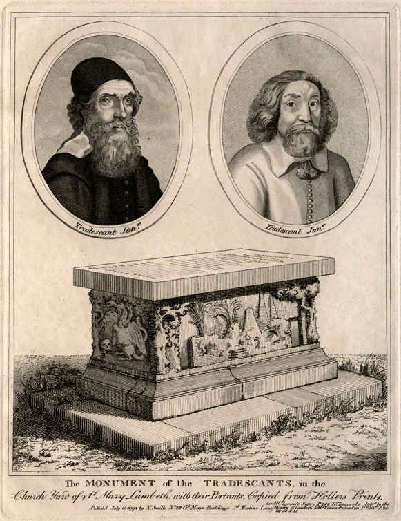 Image showing portraits of John Tradescant the Elder and John Tradescant the Younger, along with their tomb, after Wenceslaus Holler (image from Wikimedia Commons)
