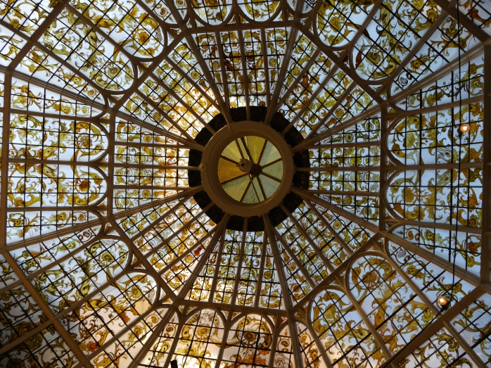 Looking up at the beautiful glass dome. Image taken in 2014, shared by user EdwardX under a Creative Commons licence (via Wikimedia Commons)