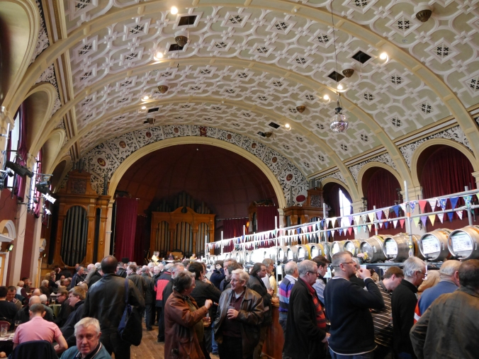 Interior of the Grand Hall, showing the distinctive curved ceiling. Image taken in 2014 and shared by user EdwardX under a Creative Commons license (image via Wikimedia Commons)