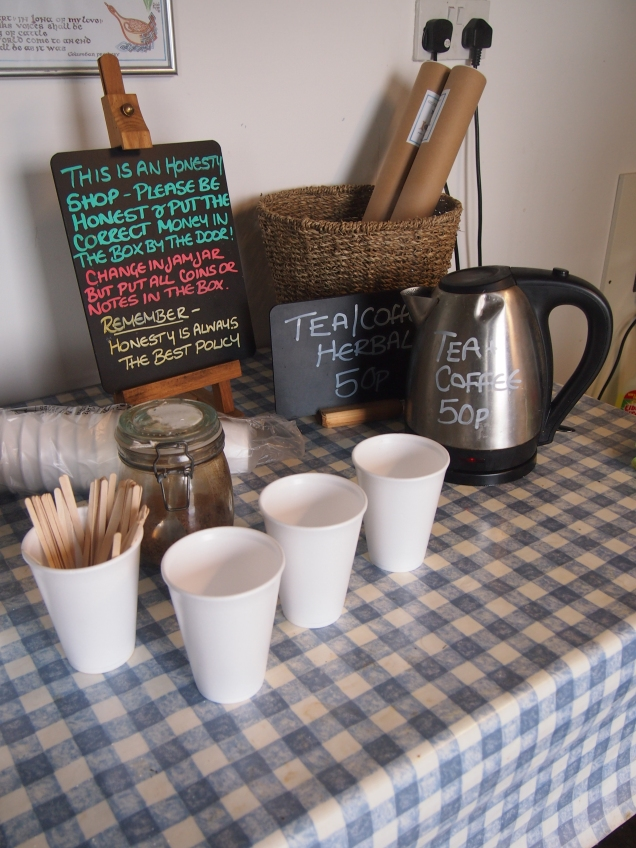 Brewing up in the honesty shop before going to find the stone circle