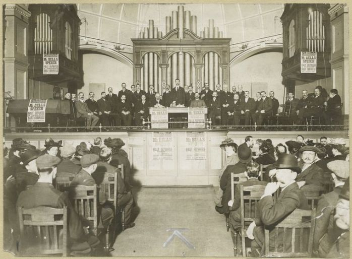 A trade union meeting taking place in Battersea Town Hall (source)