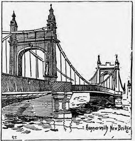Hammersmith Bridge, as pictured in the Pall Mall Gazette, 18th June 1887 ( )
