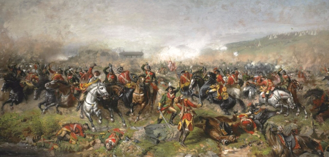 1885 painting by John Mulvany depicting the Battle of Aughrim (1691). Image via Wikimedia Commons.