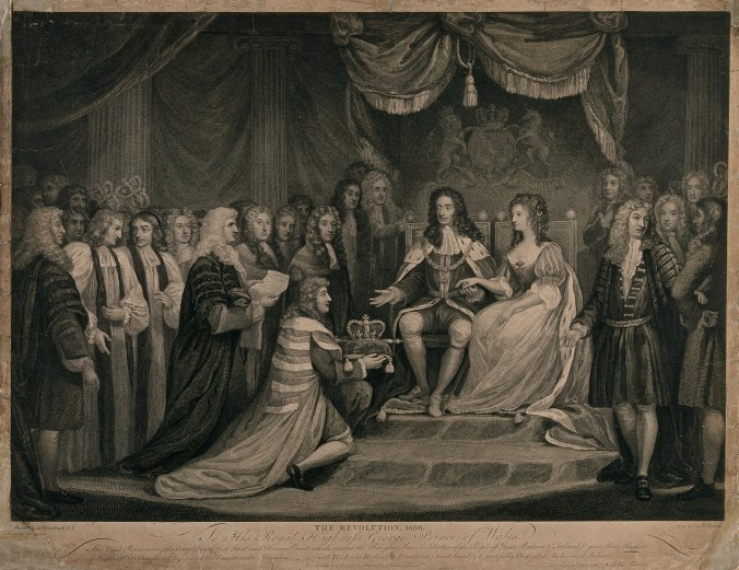V0048279 William of Orange, and Mary, his English wife are presented Credit: Wellcome Library, London. Wellcome Images images@wellcome.ac.uk http://wellcomeimages.org William of Orange, and Mary, his English wife are presented with the crown. Line engraving by J. Parker after J. Northcote, 1790. 1790 By: James Northcoteafter: James ParkerPublished: 26 April 1790 Copyrighted work available under Creative Commons Attribution only licence CC BY 4.0 http://creativecommons.org/licenses/by/4.0/