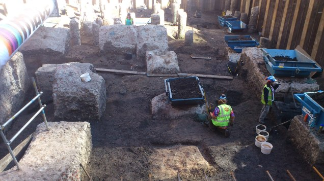 Archaeologists excavating a site near Moorgate in 2012