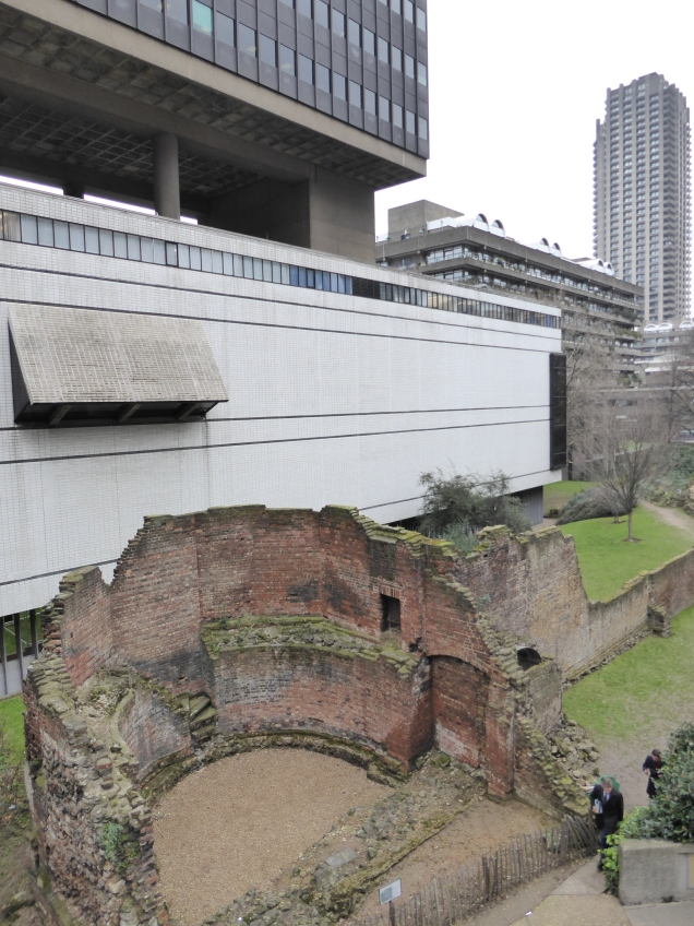 Ruins of the London Wall close to the Museum of London and the Barbican complex