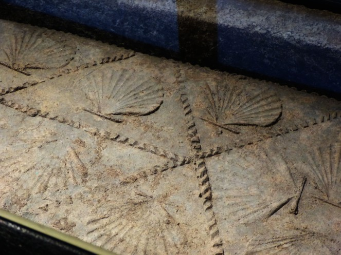 The attractive scallop shell ornamentation on the lead coffin