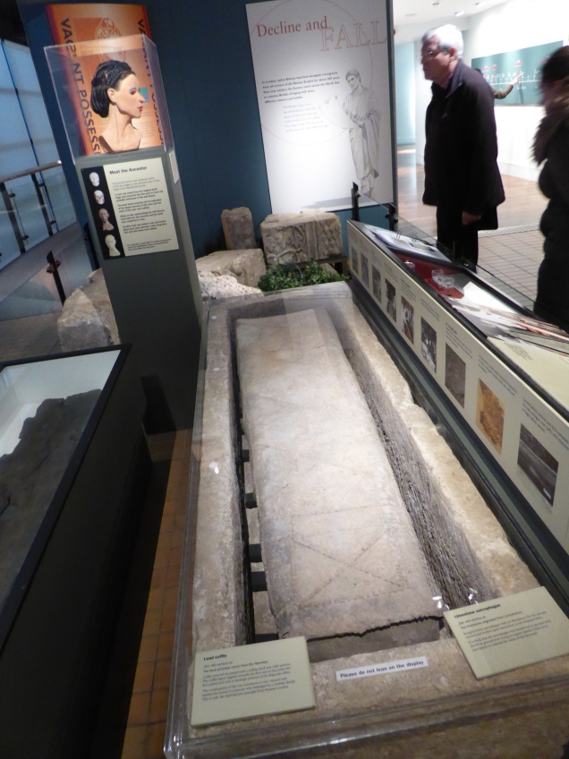 The sarcophagus and coffin of the Spitalfields lady on display at the Museum of London