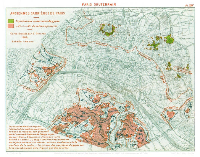 1908 plan of Paris showing where gypsum (in green) and limestone (pink) were quarried. The gypsum quarries in the Montmartre area are in the top centre of the map. Image via Wikimedia Commons.