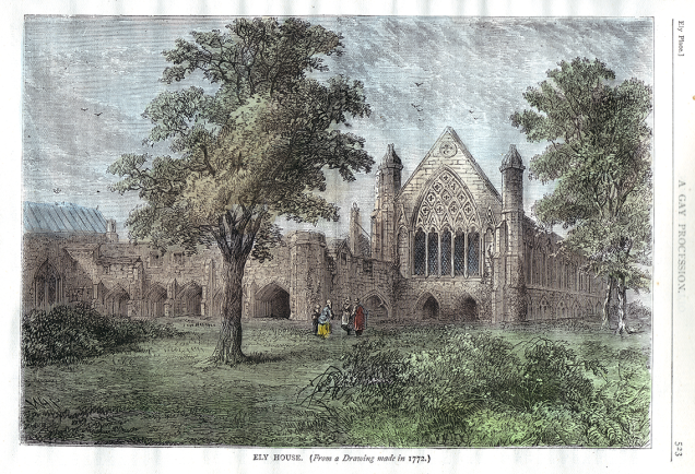 Ely House, as depicted in the 1878 book Old and New London - image based on a 1772 engraving (image via Wikimedia Commons)