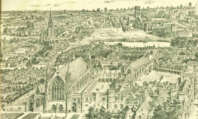 Ely Place as it may have looked in the 16th Century (image from Wikimedia Commons)
