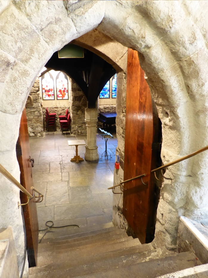 Looking down into the crypt at St Etheldreda's