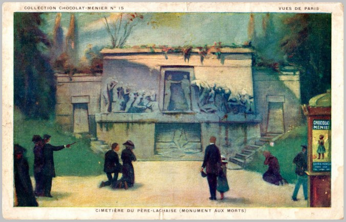 Postcard (undated) depicting the Monument aux Morts (image via Wikimedia Commons)