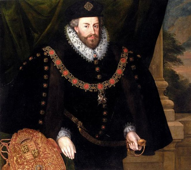 Sir Christopher Hatton, wearing the robes of Lord Chancellor (image via Wikimedia Commons)