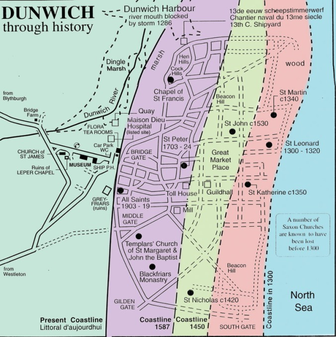 Map showing various landmarks in medieval Dunwich, and approximate locations of the coastline at different times (source)