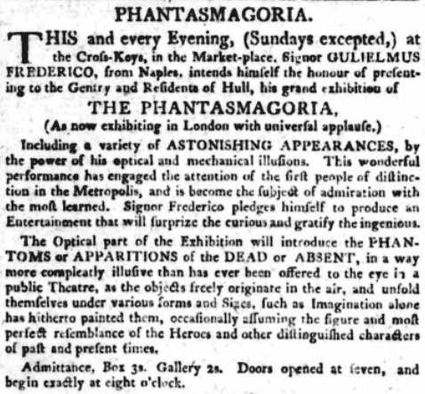Advertisement for a Phantasmagoria show in Hull, from Hull Advertiser and Exchange Gazette, 8th May 1802 (© THE BRITISH LIBRARY BOARD)