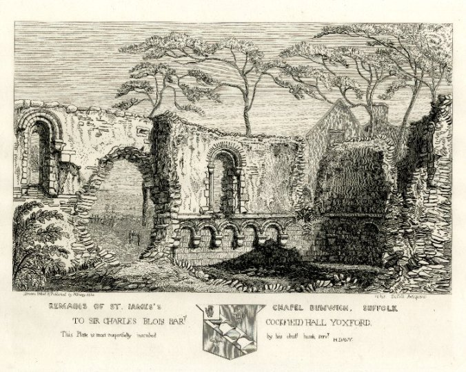 Remains of St James' chapel, Dunwich (part of the old leper hospital), by Henry Davy, 1827 (image via Wikimedia Commons)