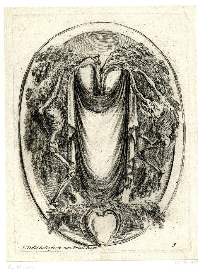 Cartouche with Skeletons, etching by Stefana della Bella, 1647. Image provided by the British Museum under a Creative Commons BY-NC-SA 4.0 licence.