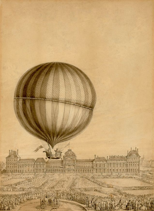 Contemporary engraving showing the Jacques Charles and Nicolas Marie-Noel Robert carrying out the first ever manned gas balloon flight in Paris in 1783 (image via Wikimedia Commons)