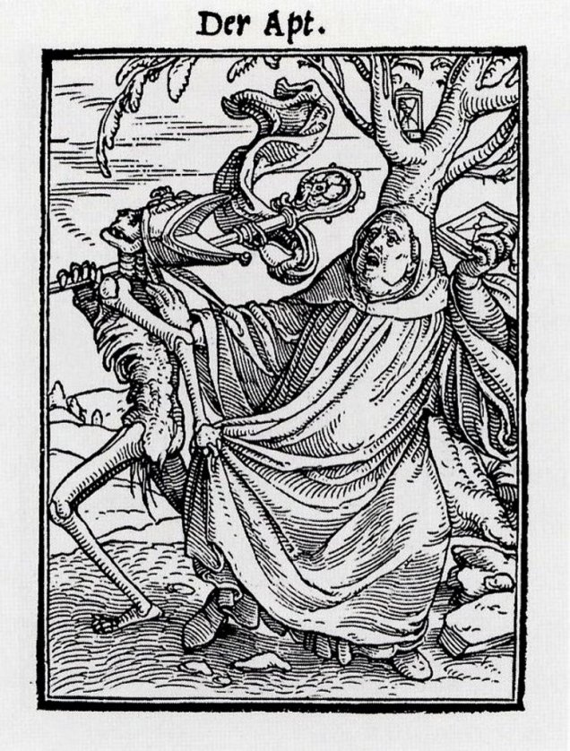 The Abbot, from The Dance of Death by Hans Holbein the Younger (image via Wikimedia Commons)