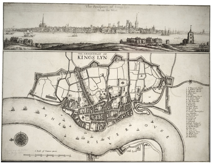 17th Century view and map of King's Lynn, by Wenceslas Hollar (image via Wikimedia Commons)