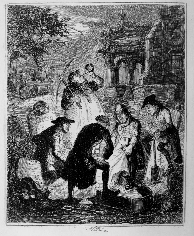 1847 illustration of resurrectionists at work, accompanying a story about John Holmes and Peter Williams, Bloomsbury bodysnatchers (image via Wikimedia Commons)