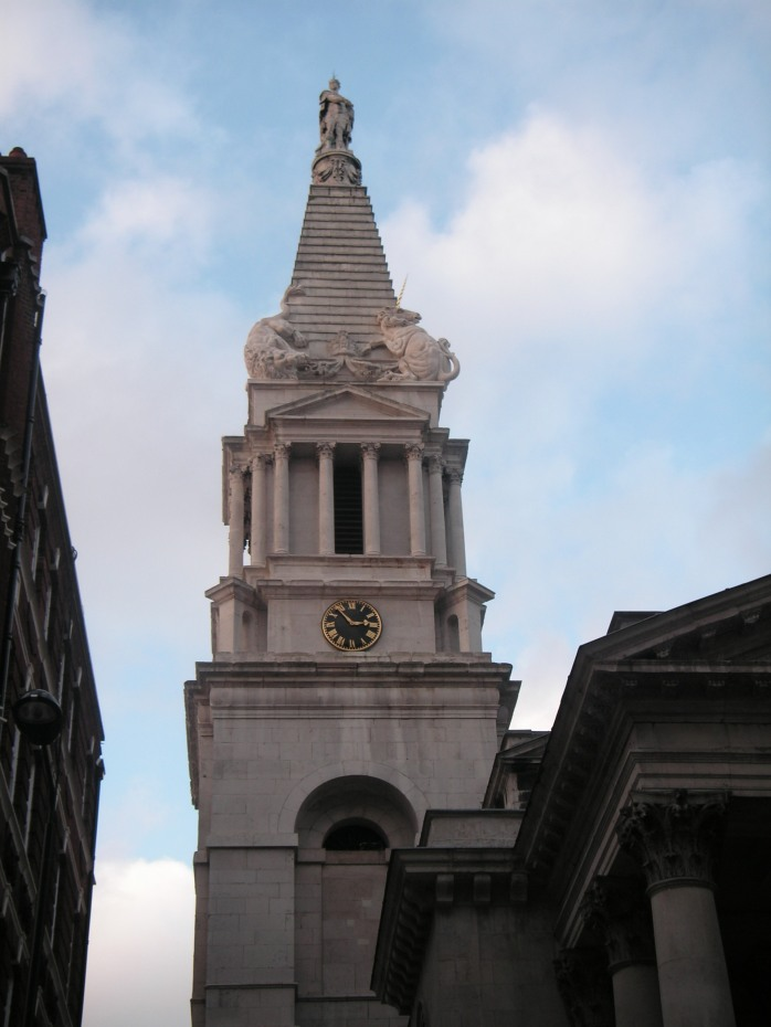 Tower of St George, Bloomsbury (public domain image via Wikimedia Commons)