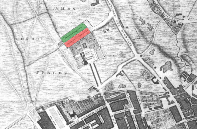 Detail from John Rocque's 1743 map of London (map sourced from Wikimedia Commons)