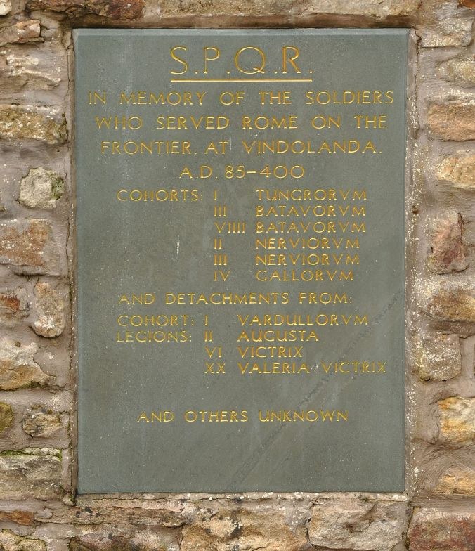 Memorial tablet honouring the soldiers stationed at Vindolanda during the Roman period (image by Nilfanion on Wikimedia Commons)