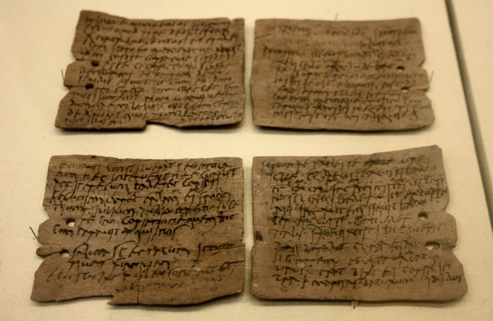Some of the inscribed tablets found at Vindolanda, now on display at the British Museum in London (Creative Commons image by Michel Val, via Wikimedia Commons)