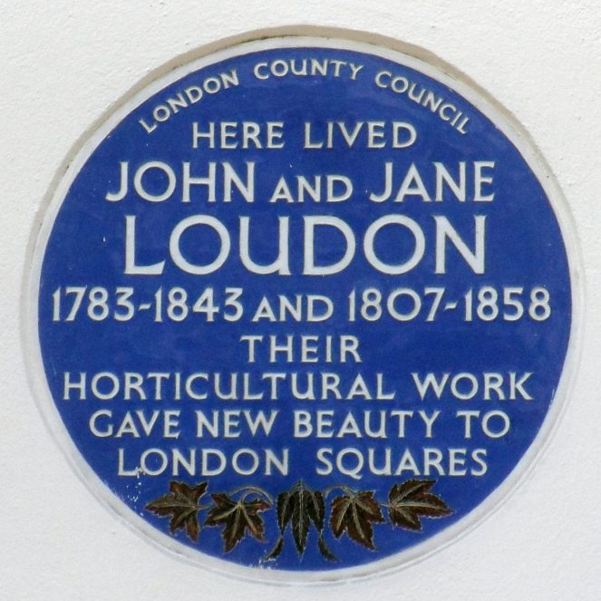 Blue plaque commemorating John and Jane Loudon at their former address in Bayswater, London. Inscription reads 'HERE LIVED JOHN AND JANE LOUDON 1783-1843 AND 1807-1858. THEIR HORTICULTURAL WORK GAVE NEW BEAUTY TO LONDON SQUARES