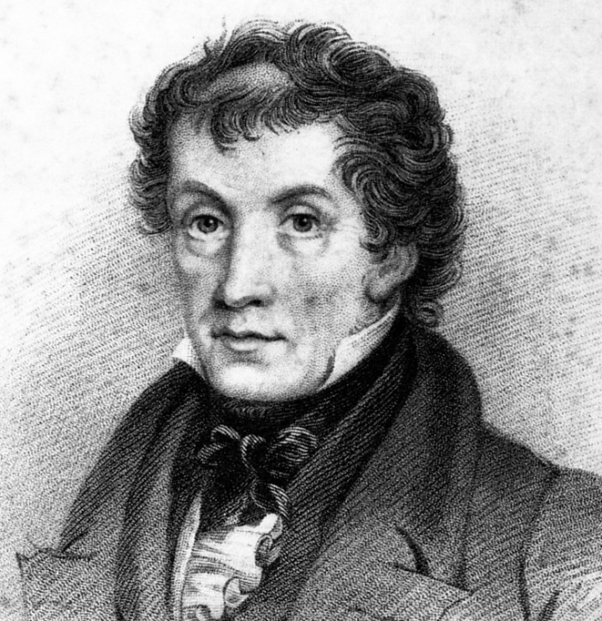 Portrait of John Claudius Loudon, a beardless man with curly dark hair, wearing a high collared jacket and bow tie