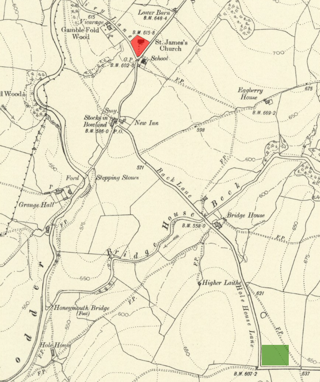 Map from 1910 with author's amendments showing the original and new version of the burial ground